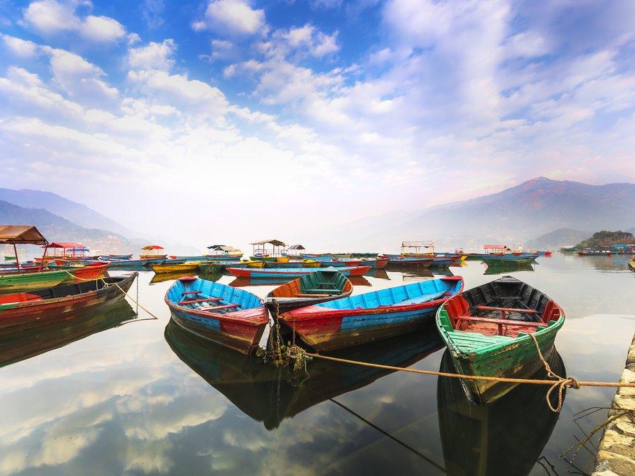 Colorful boats on Phewa Lake, Pokhara