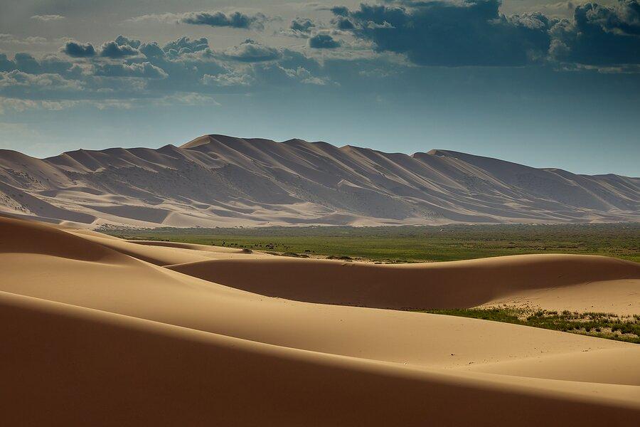 Sand dunes in Mongolia's Gobi Desert