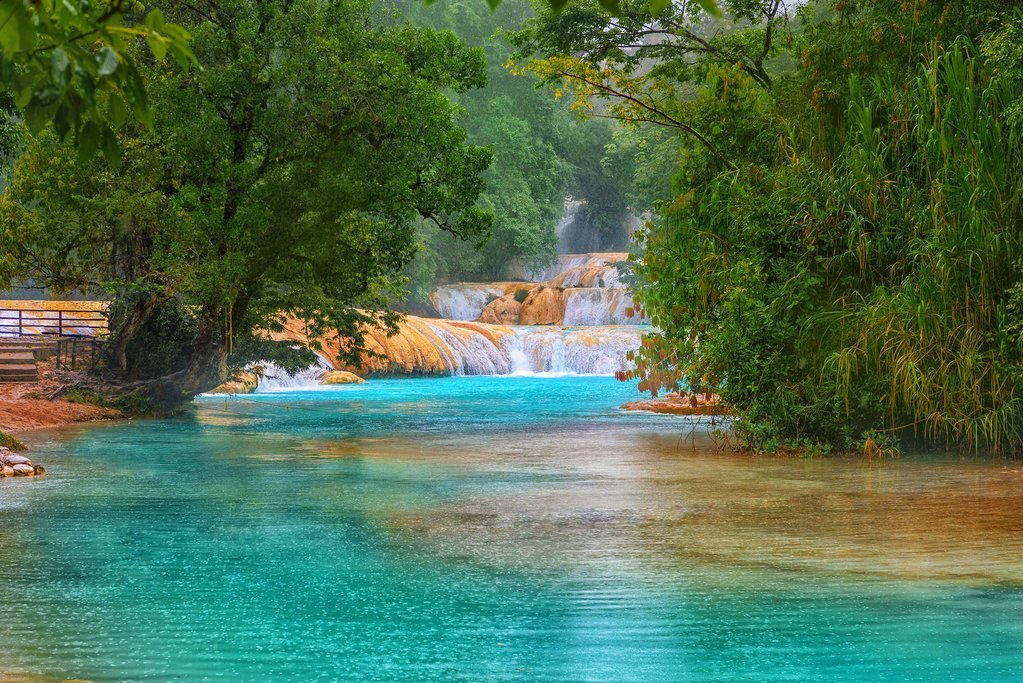 The stunning blue waters of Agua Azul