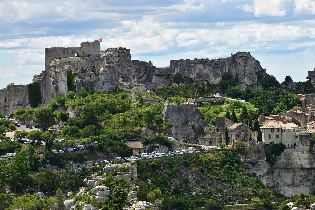 Les Baux de Provence skyline, topped with the famous castle