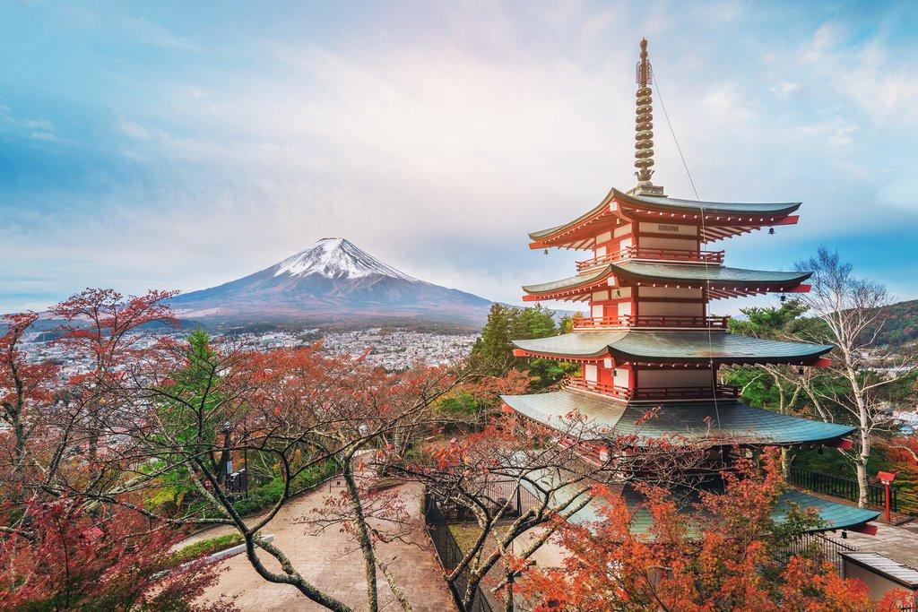 Sunrise over Tokyo's Chureito Pagoda.