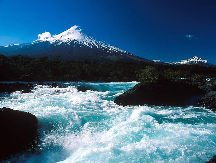Petrohué Falls with Osorno in the background