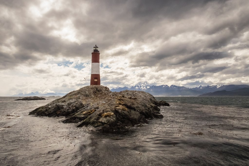 Lighthouse views while sailing around the Beagle Channel