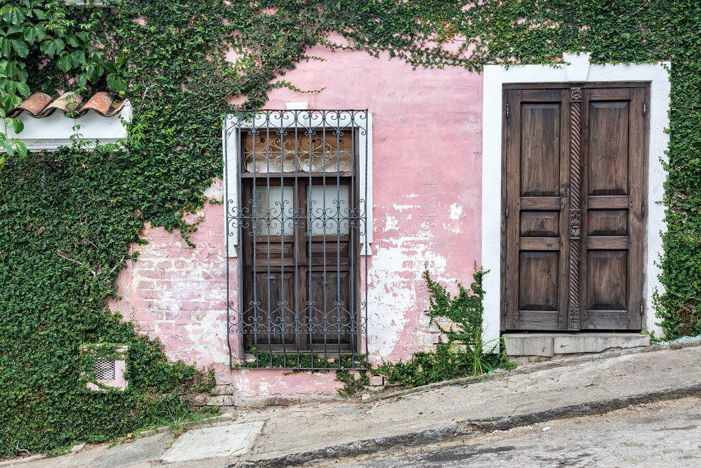 Pink building in Cali, Colombia