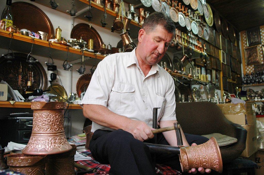 Sarajevo coppersmith at work