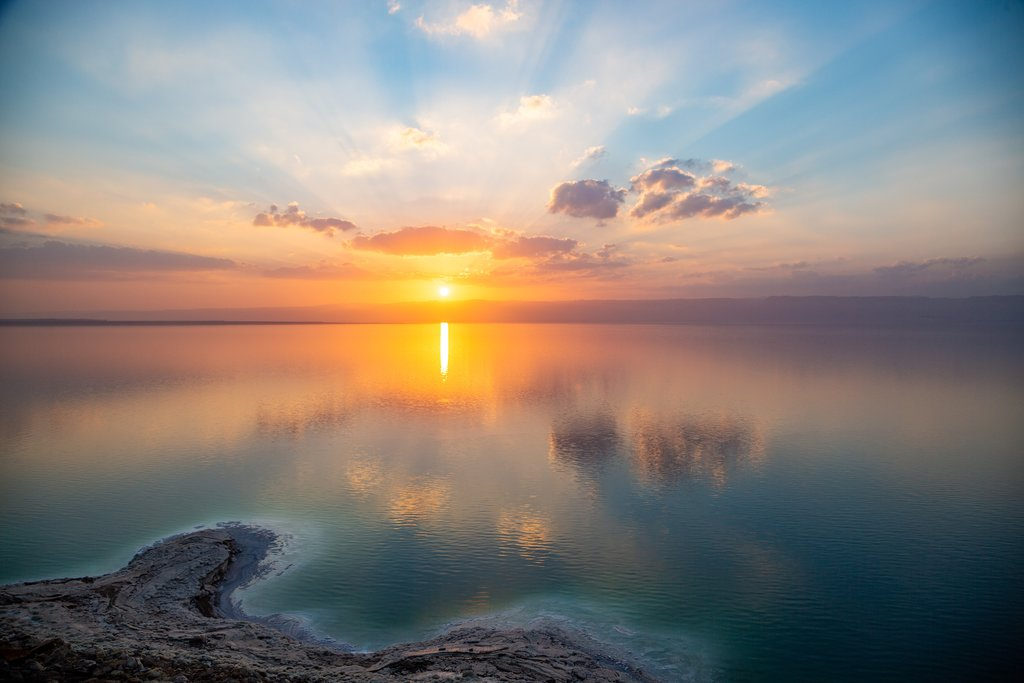 Magical sunset over the Dead Sea