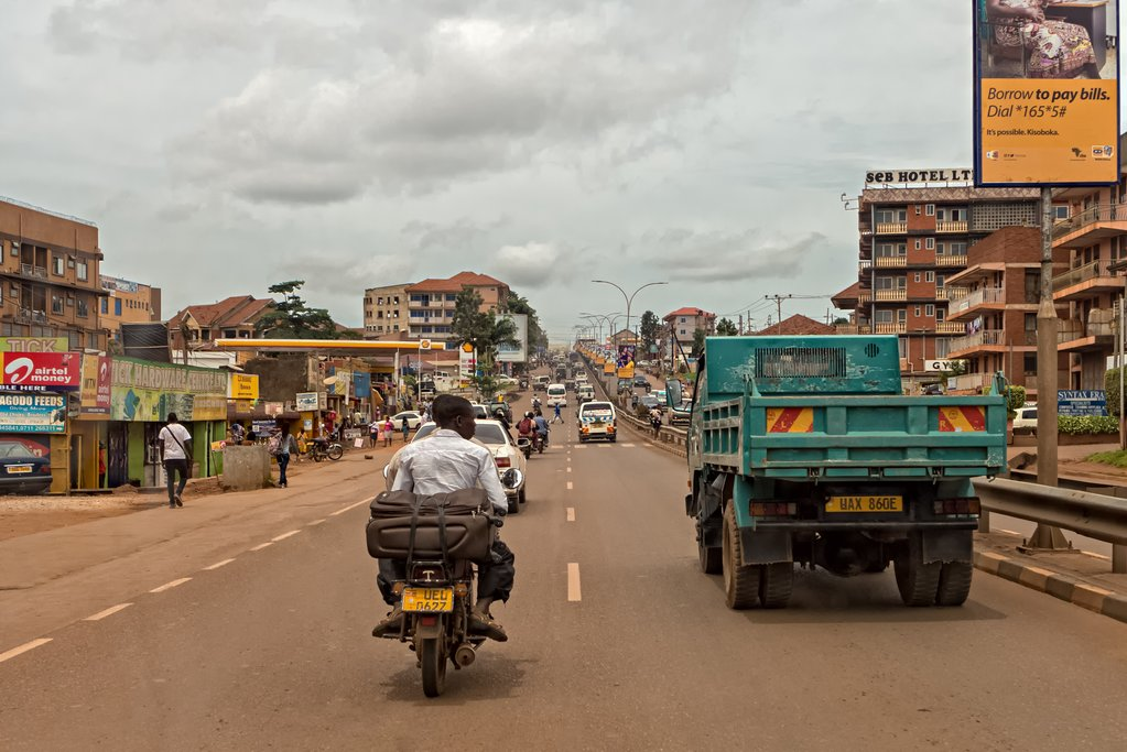 Traffic on the road in Kampala, Uganda