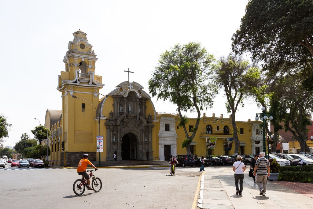 A cheerfully painted cathedral in Barranco, Lima