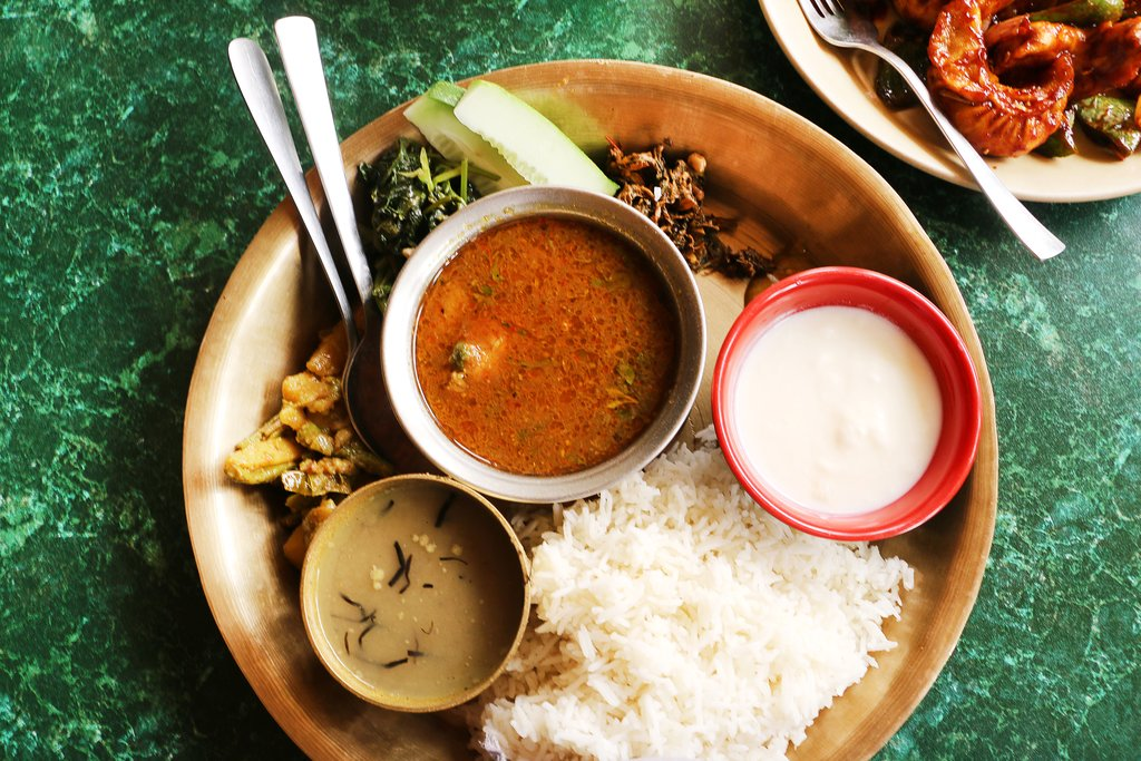 Dal,bhat,and tarkari—the traditional meal in Nepal