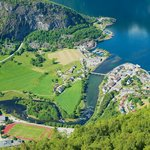 Aerial view of Aurland and the  Aurlandsfjord