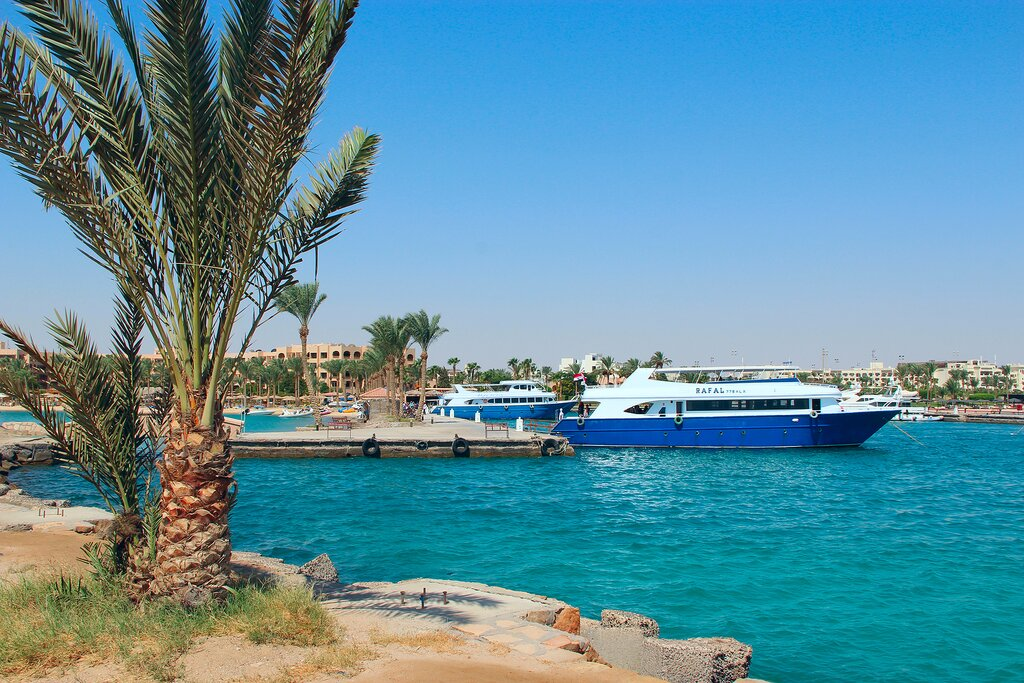 Yachts in the harbor at Hurghada