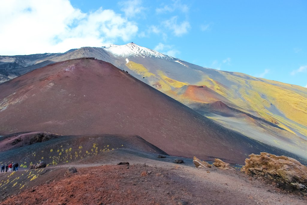 Hikers on Mount Etna