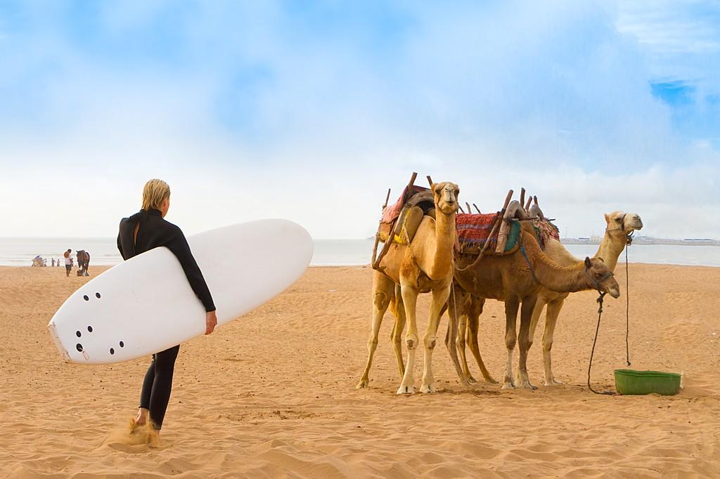 A Surfer on a Morrocan Beach