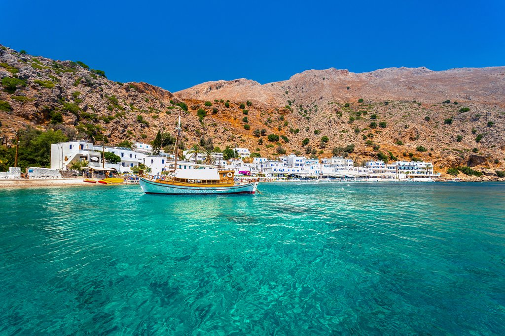 The village of Loutro, on the south side of Crete