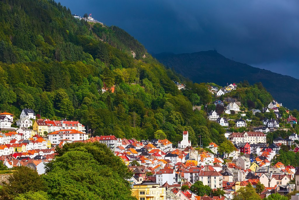 Bergen is famously surrounded by seven hills or mountains