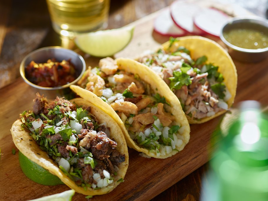 Tacos with carnitas and chicharrón