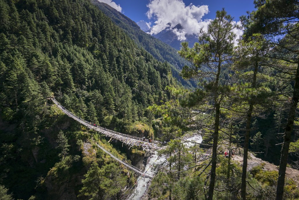The Hillary suspension bridge before the climb up to Namche Bazaar