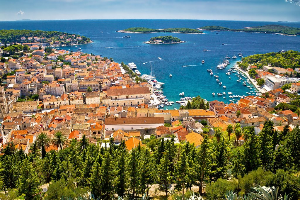 Hvar rooftops, the harbor, and Pakleni Islands