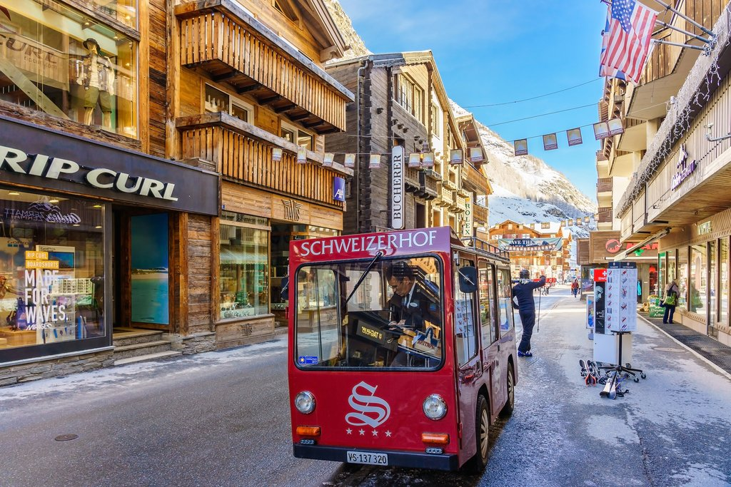Electric delivery car in Zermatt, a combustion-engine car-free zone