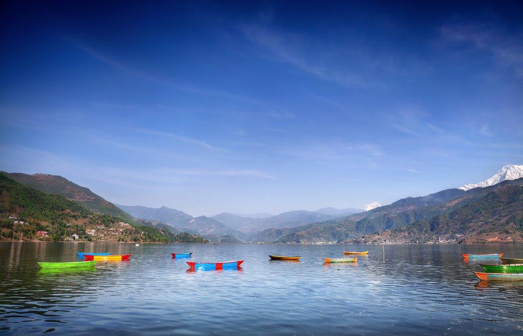 Boats line the shore of Phewa Lake