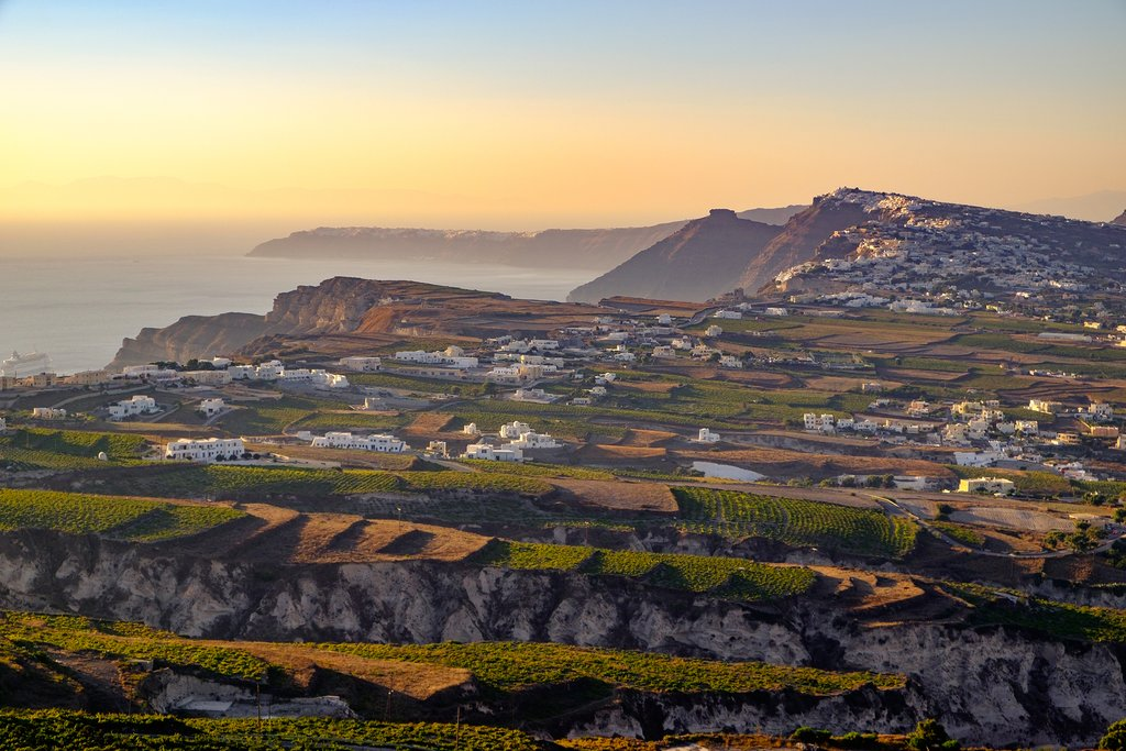 Vineyard hills in Santorini