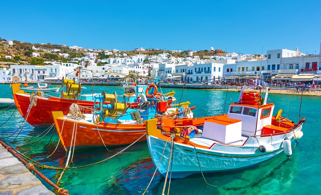 Colorful boats bobbing in the Old Port at Mykonos