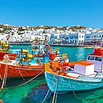 Colorful boats bobbing in Mykonos' Old Port