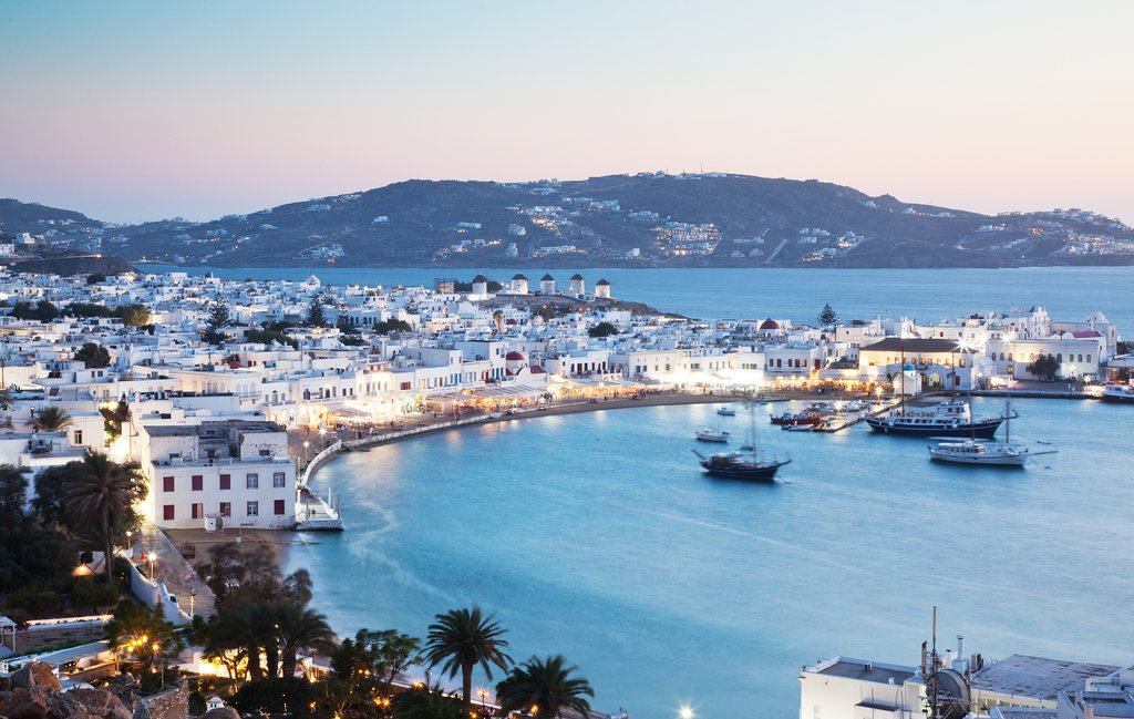 Mykonos in the evening