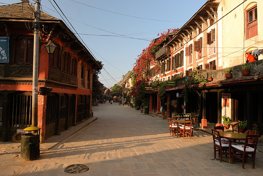The main street of Bandipur in the morning