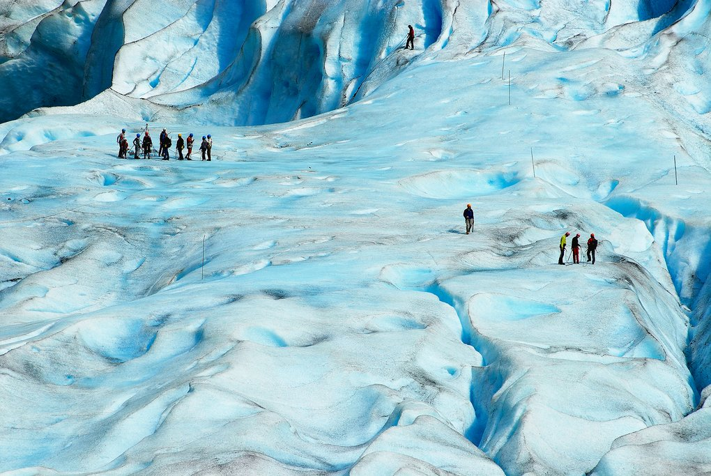 People hiking on Jostedalsbreen Glacier