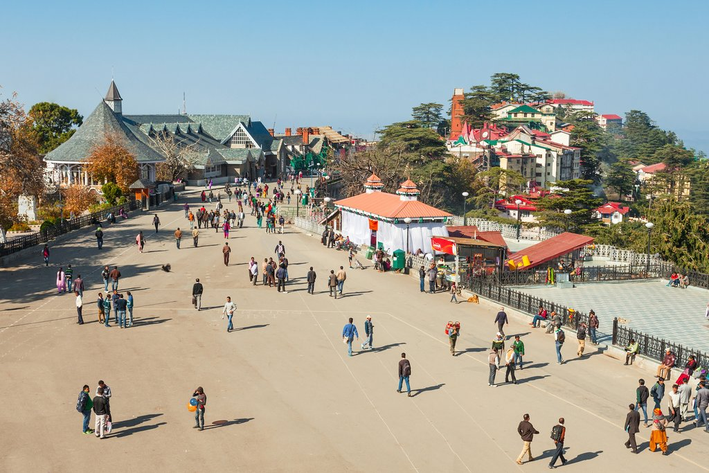 The Ridge road is a large open space, located in the heart of Shimla