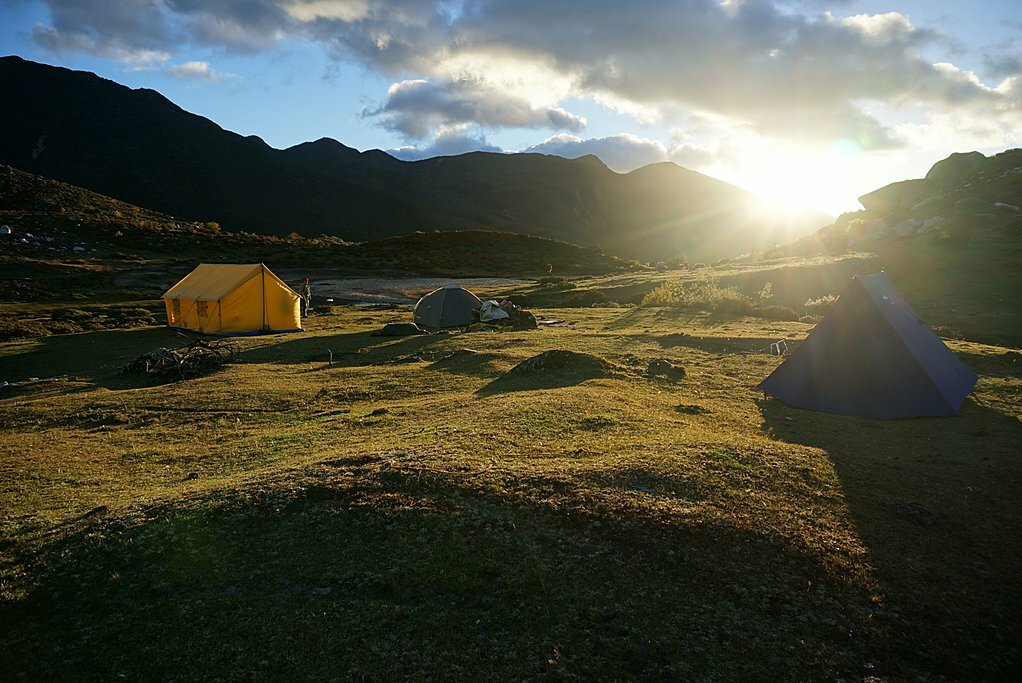 Sunrise over the mountains in Bhutan