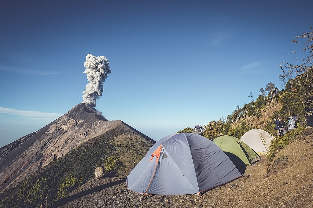 Fuego volcanic eruptions seen from the campsite.
