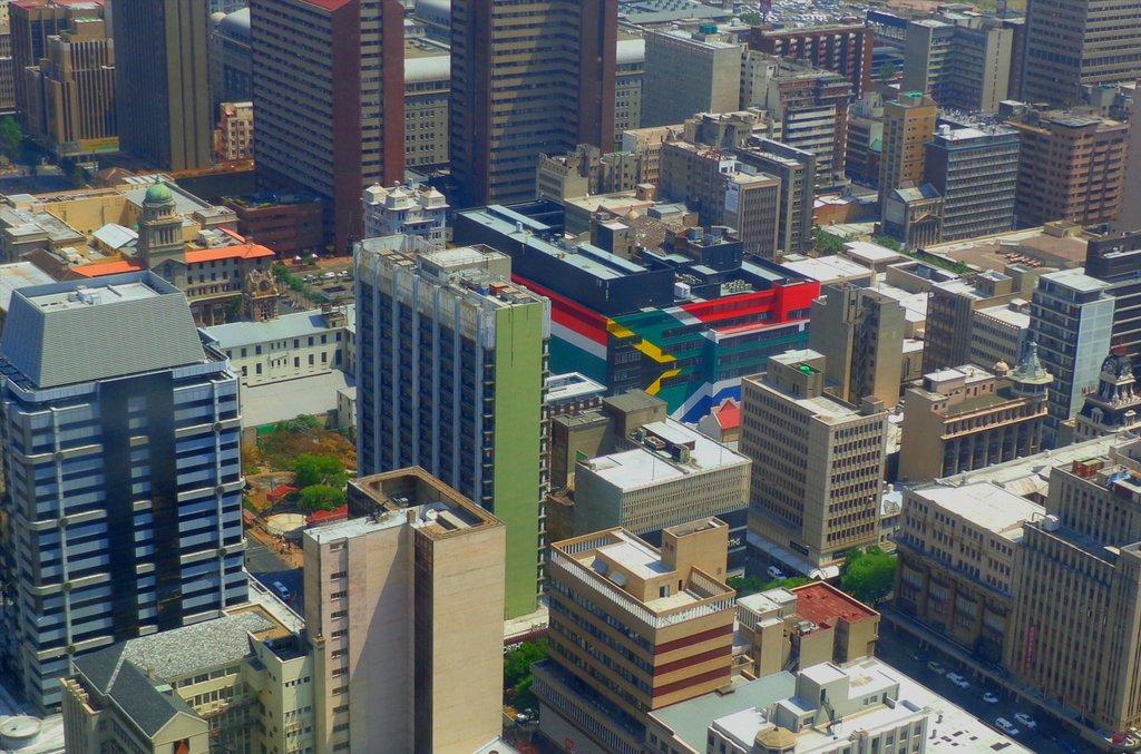 An aerial shot of Johannesburg's city center