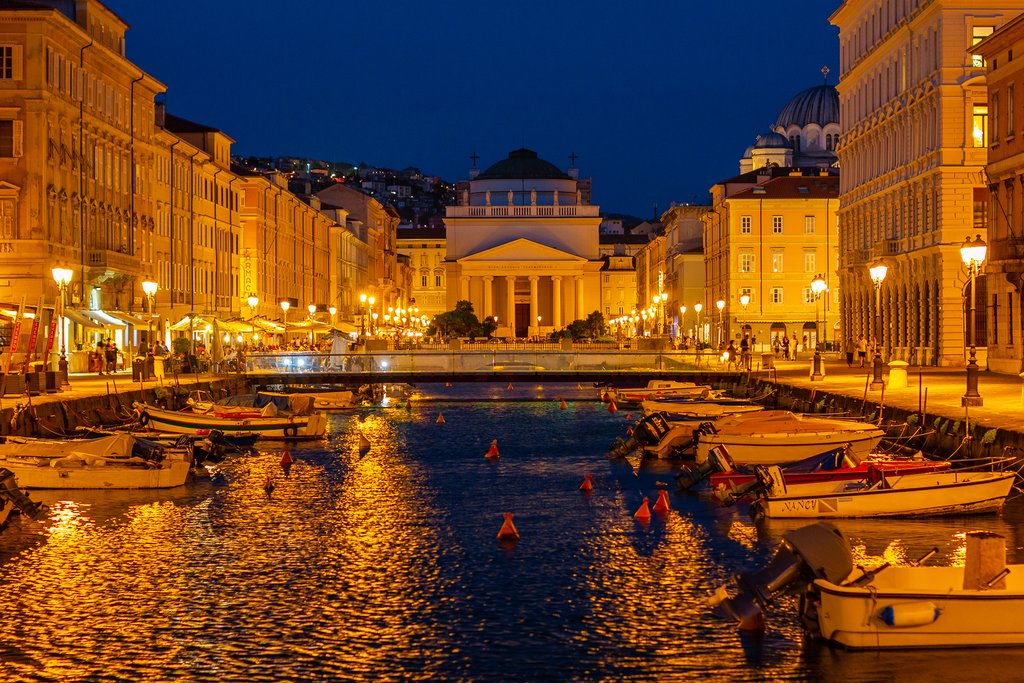 Night view of Trieste, Italy