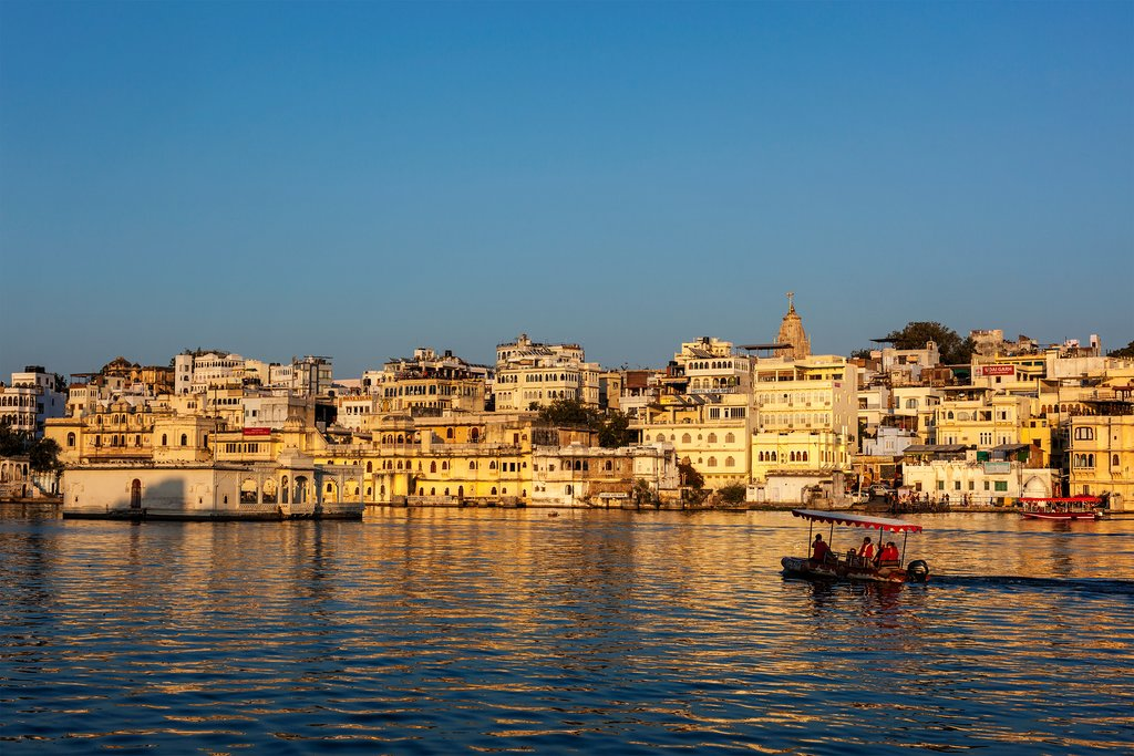 The city of Udaipur is best viewed from the waters of Lake Pichola