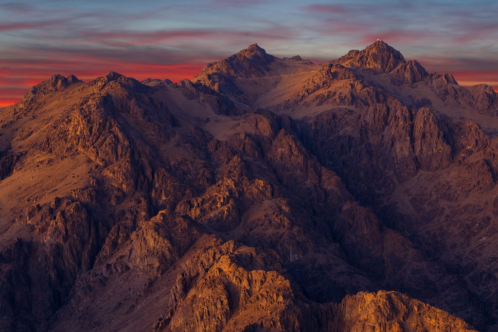 View of mountains from Mount Sinai, Egypt