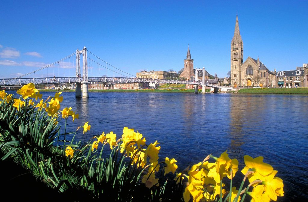 The Inverness city center, along the banks of the River Ness.