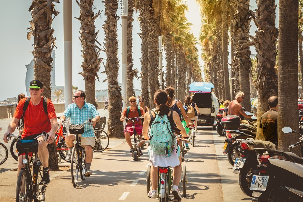 Cycling along Barceloneta Beach