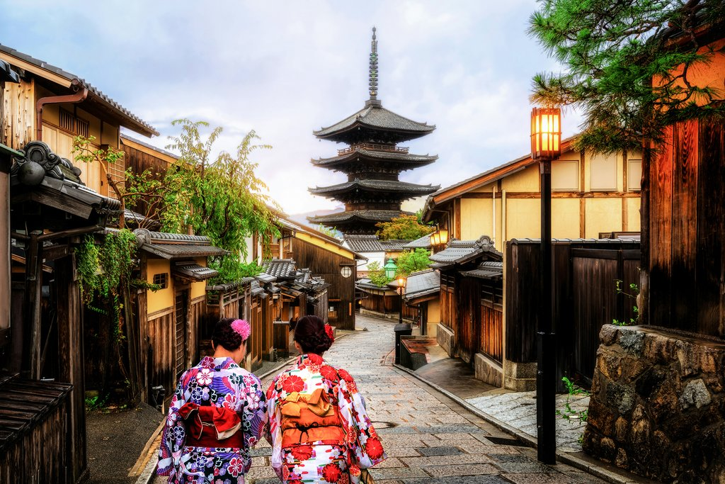 View of Kyoto and Japanese Women in Traditional Kimonos