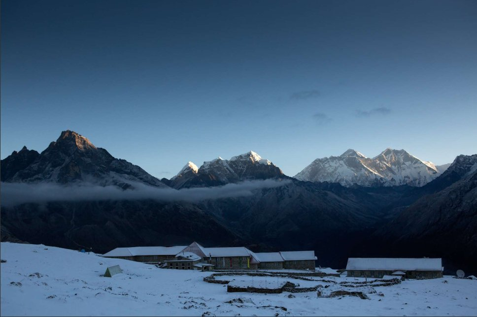 View of Mt. Everest, Lhotse, and Ama Dablam from the lodge at Kongde