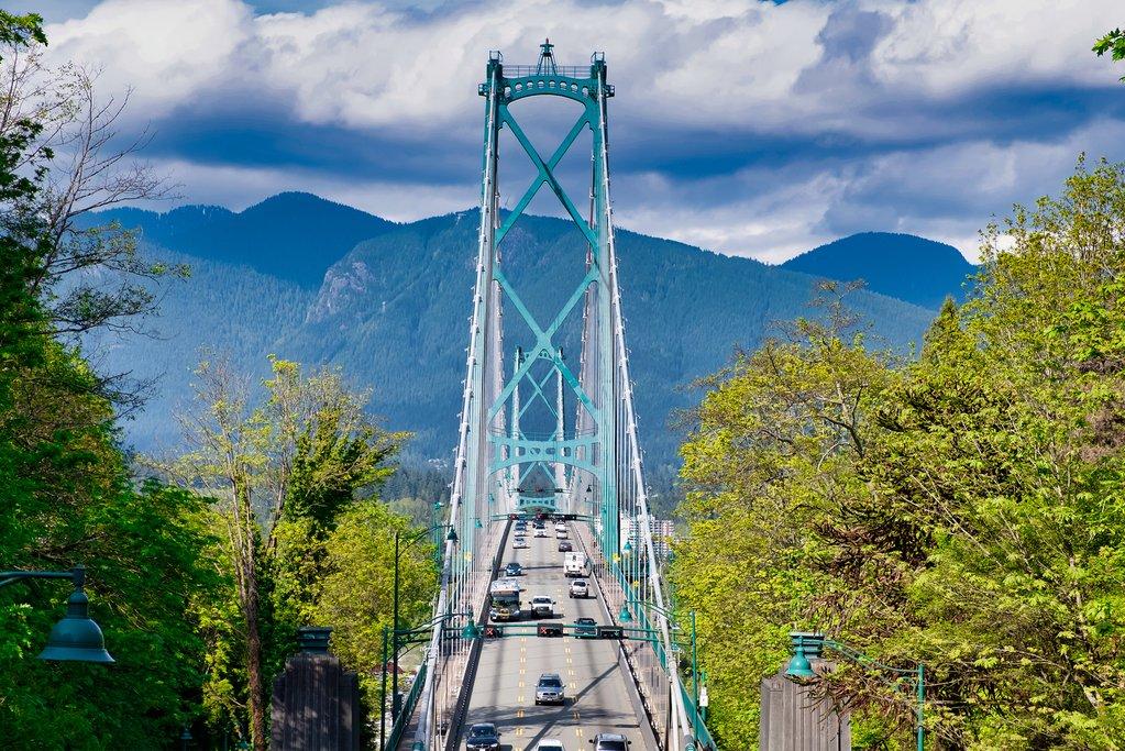 Lions Gate Bridge, leaving Stanley Park