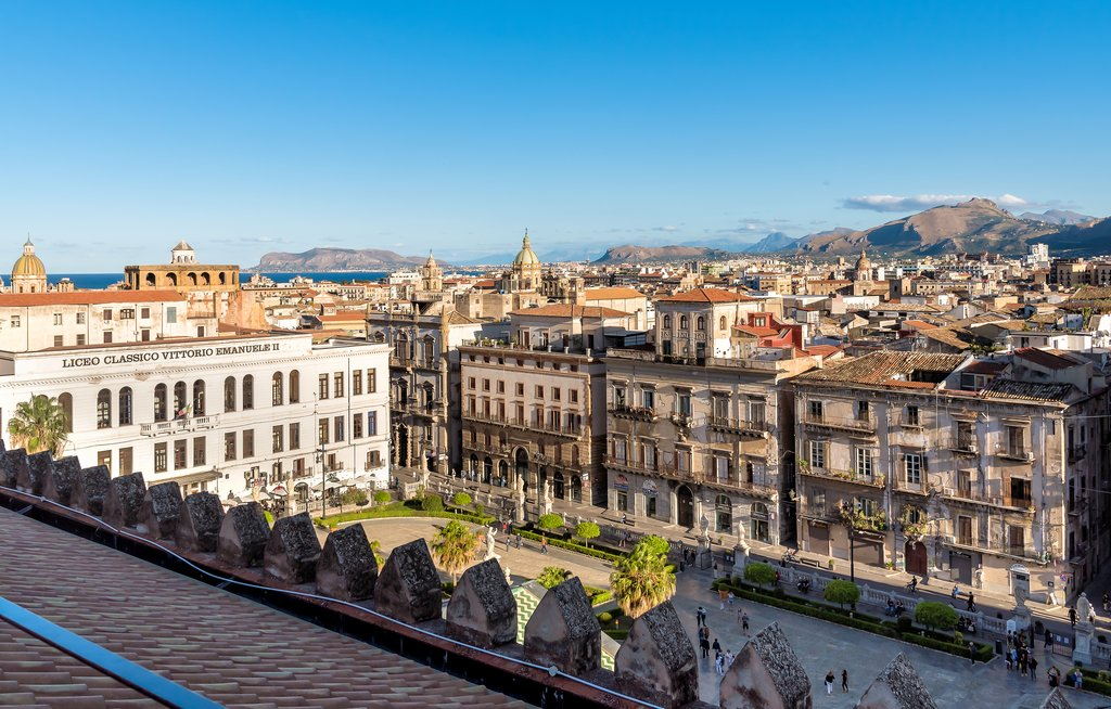 View of the Palermo cityscape from the Palermo Cathedral rooftop