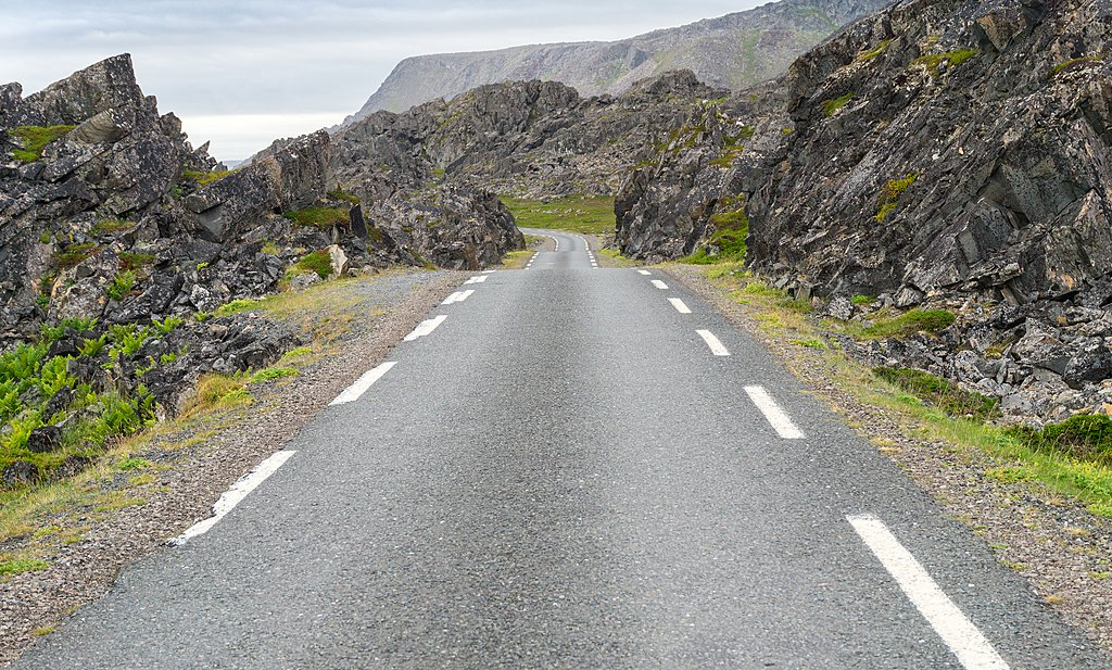 Drive on near-empty roads along the Barents Sea