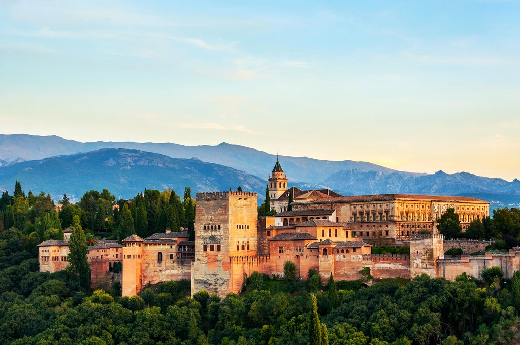 Spain - Granada - The Alhambra Palace and Sierra Nevada in the background