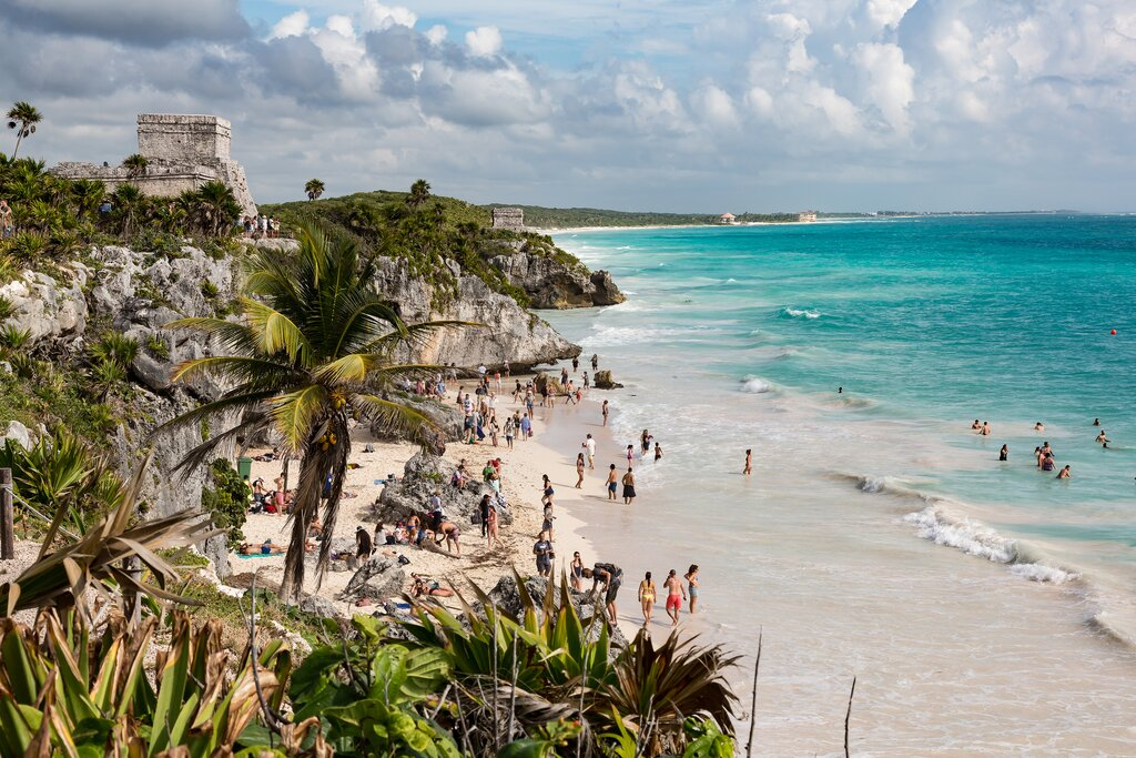 Playa Ruinas, a beach frequented by visitors to the Tulum archeological site
