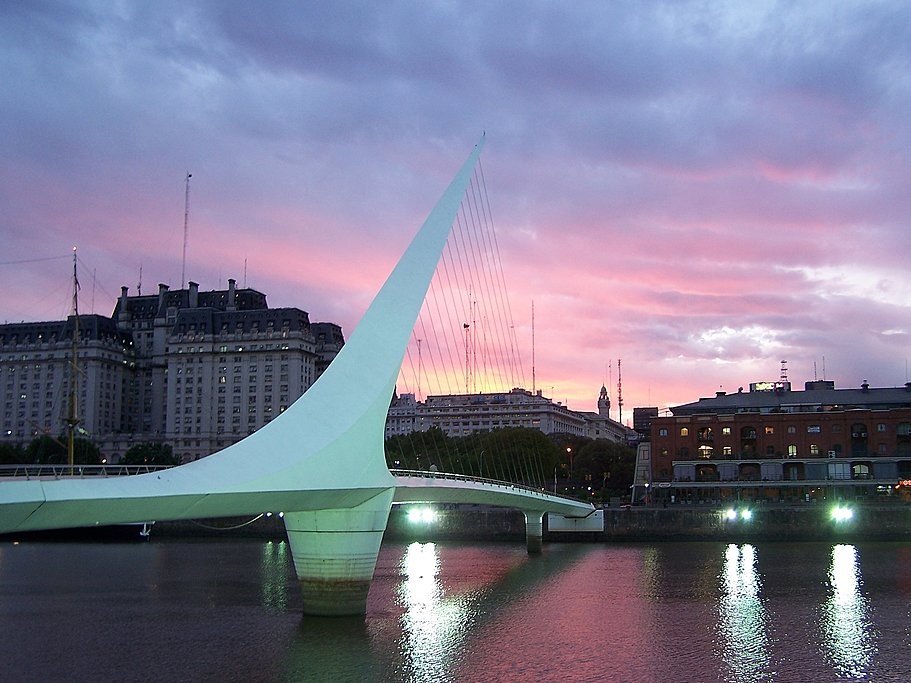 Sunset at Puente de las Mujeres bridge in Buenos Aires