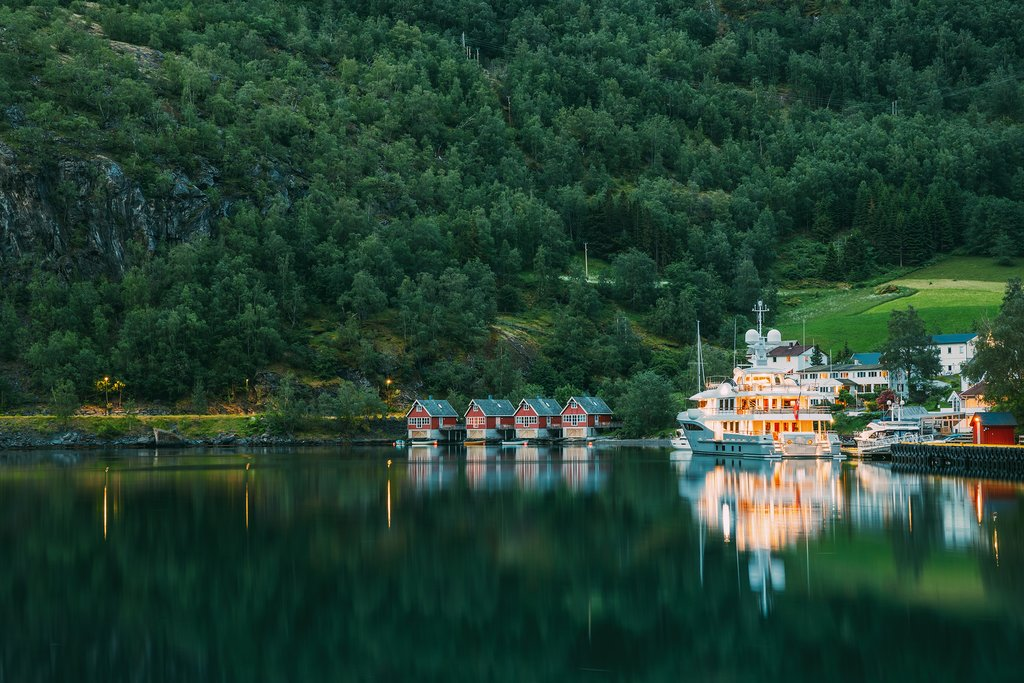 Docks near the charming fjord-side village of Flåm.