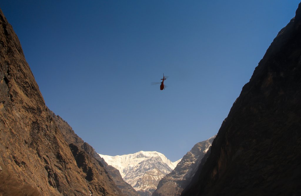 Helicopter in the Himalaya