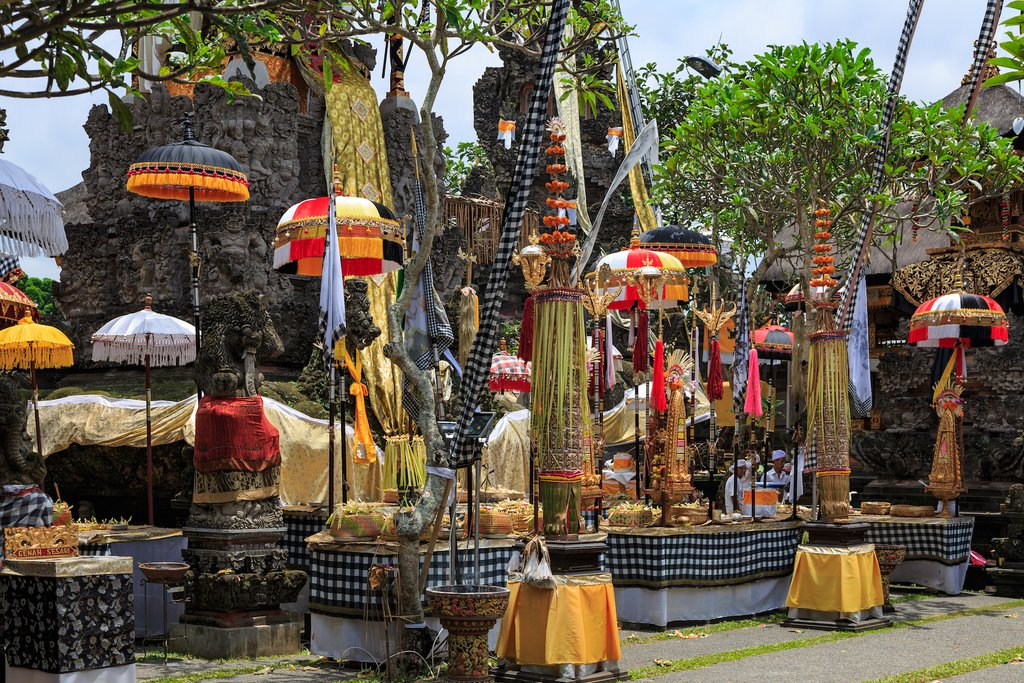 Offerings at a Temple in Ubud